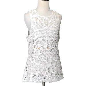 A.N.A. Crochet Tank Top Sleeveless Shirt White Med